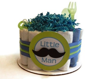Little Man Mustache Diaper Cake - One Tier  Baby Shower gift or centerpiece mustache tie boy green blue