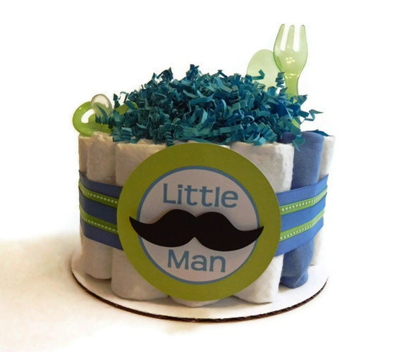 little man mustache diaper cake one tier baby shower gift or