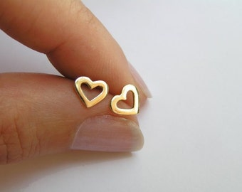 14k Gold Heart Earrings - Solid Gold Studs - Small Heart Earrings - Valentines Day Gift