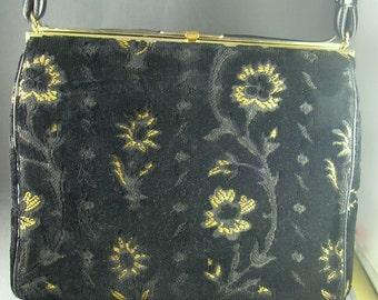 1940s Black Cut Velvet Handbag L&M Spot-Lite Exclusive 8 inches tall Excellent Condition