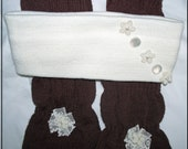 """Winter Gloves Ear Warmer Headband Set - """"COZY CHIC"""" - OOAK - Upcycled Gift Set - Brown Gloves - Ivory Ear Warmer - Pearls and Lace -"""