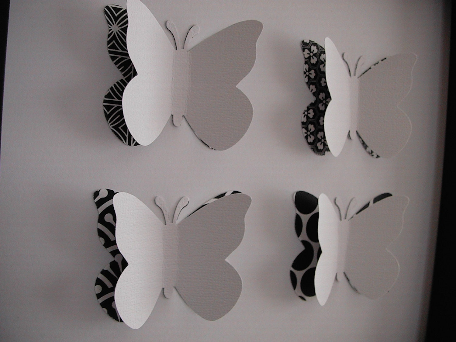 White Butterfly Wall Decor Target : D wall art black and white butterfly frame by girliesmile