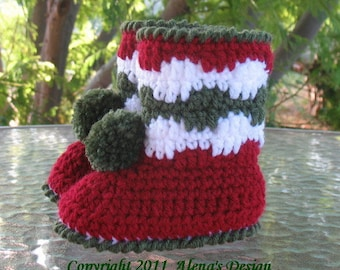 Crochet Pattern 028 - Christmas Toddler Pom-Pom Booties - Christmas Boots  Boys  Girls  Child  Winter Boots Slippers Christmas Decoration