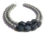 SALE Prism in gray// bib necklace
