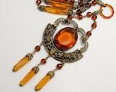 1920-30 Flapper Sautoir Necklace Czech Glass Amber Topaz Orange Autumn Colors Bohemian Vamp