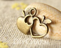 Antique Bronze Apple With Heart Shape Charms 18x12mm - 20Pcs - DC25183