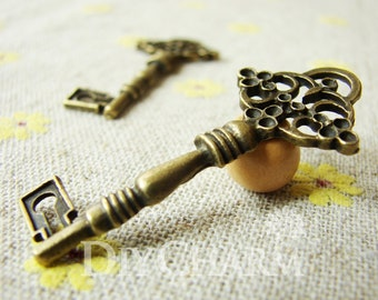 Antique Bronze Flower Key With Multi Diamond Setting Charms 45x20mm - 5Pcs - DC24181
