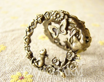 Antique Bronze Flower Ring Charms 33x33mm - 5Pcs - DC25436