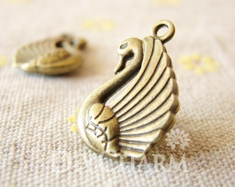 Antique Bronze Double Sided Swan Pendants 23x15mm - 10Pcs - DC24783