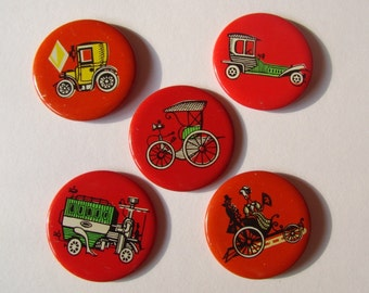 Soviet Vintage Pins Red Hat Pins Red Badges Collection Retro Car Vintage Brooch Set of 5 Russian Vintage Red Pins Badges Collectible Pins