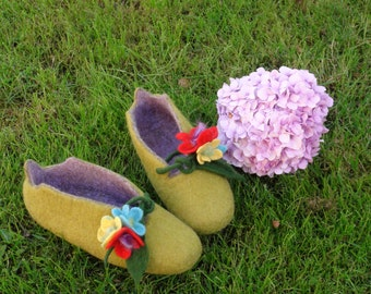 Handmade felted merino wool slippers olive floral