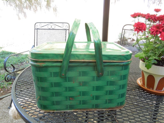 Vintage Green Plaid Picnic Basket with Handles