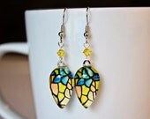 Tiffany Lamp Earrings Teardrop Dangle Silver Glass Swarovski Yellow Blue Green Black Orange Photo Fine Art Photograph MTO