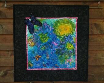 Whimsical Garden Art Quilt - Original Design Wall Art  AQS Quilt Show Semi-Finalist 28 x 28 Ready to hang