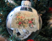 Antique shredded sheet music Christmas glass ornament with ribbon