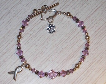 Animal Abuse Awareness Bracelet w/ Bali & Swarovski Elements Crystal Beads in Sterling Silver
