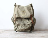 Canvas Green Hiking Backpack with Aluminum Frame & Leather Straps