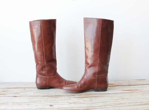 Vintage Soft Brown Leather Riding Boots. Size 7.5