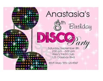 Disco Ball Dance 70s Party your photo girl boy Birthday party, Invitation or thank you Custom Personalized Digital File, DIY Printable