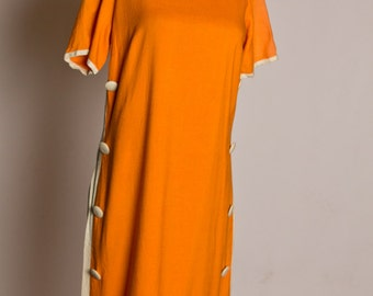 Bold orange and white vintage linen 1960s dress with buttons