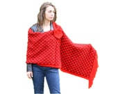 Knitted Scarf - Polka Dot Fashion - Womens Wrap in Red and Burgundy with Fringes - Hand Knit Scarf - Elegant Chic Shawl - Women Accessories