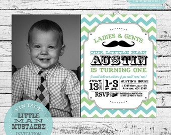 Vintage Little Man Mustache Bash, Moustache Bash or Barber Shop Invitation