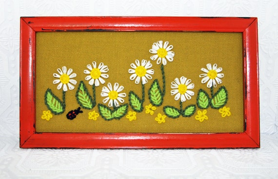 Vintage Orange white Yellow & Olive Green Cross Stiched Daisy Ladybug Framed Picture