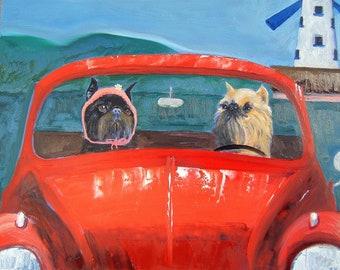 """Brussels Griffon Art Print of an original oil painting / """"VW Tours"""" / Dog art"""