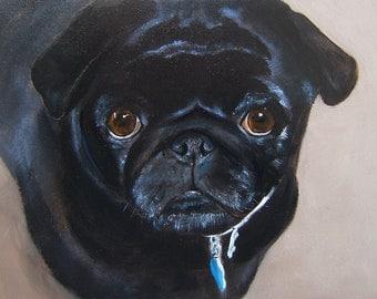 Black Pug Art Print of an original oil painting /Pug Dog Art/Black Pug/ 8 x 10 /Dog art