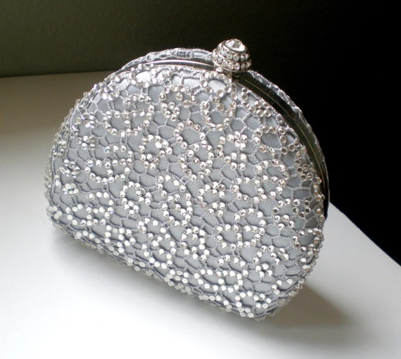 Chic Lace Bridal Clutch... Grey Lace and Rhinestone Dressing Case