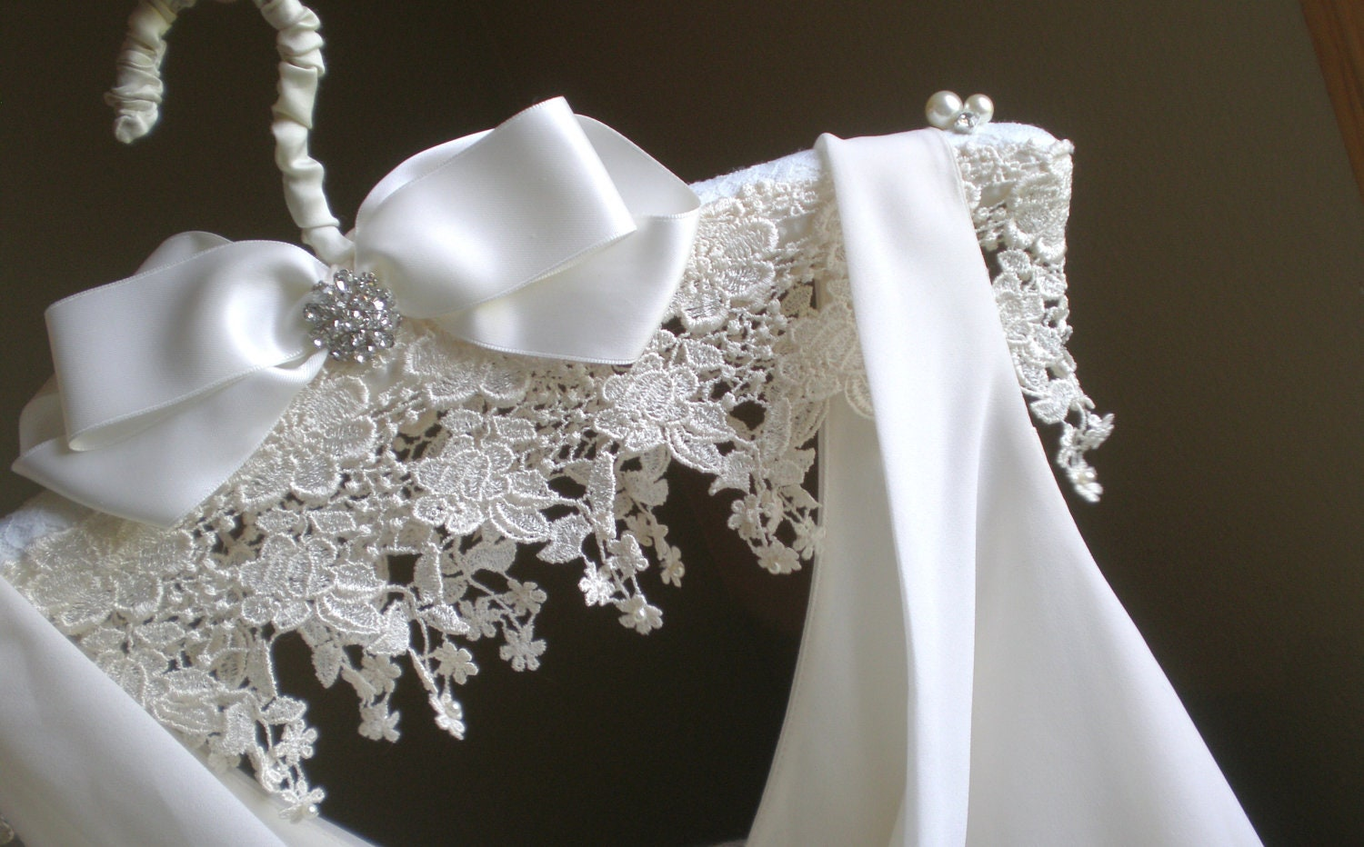 Padded Wedding Dress Hanger Jeweled Lace And Satin