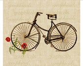 Vintage bicycle digital download image  Bicycle and poppies for fabric transfer decoupage burlap pillows tote bags No. 532