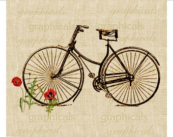 Vintage bicycle instant graphic download image  Bicycle and poppies for paper iron on fabric transfer decoupage burlap pillows tote No. 532