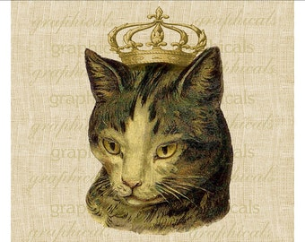 Vintage cat crown French Instant clip art Digital download graphic image for iron on fabric transfer decoupage burlap pillow tote  No. 510