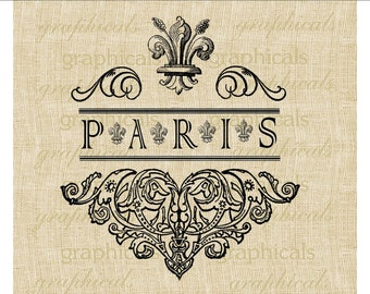 Vintage fleur de lis Paris emblem digital download image for fabric transfer decoupage paper burlap pillows tote bags cards towels No. 547