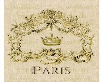 Paris vintage ornate gold frame crown digital download image for fabric transfer decoupage paper burlap pillows tote bags No. 545