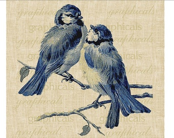 Bluebirds on branch Instant Digital download graphic image for Iron on fabric transfer decoupage burlap pillows tote bags cards No. 570