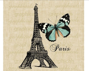 Paris Eiffel Tower Teal butterfly Paris instant digital download image for fabric transfer decoupage paper burlap pillows tote bags No. 563
