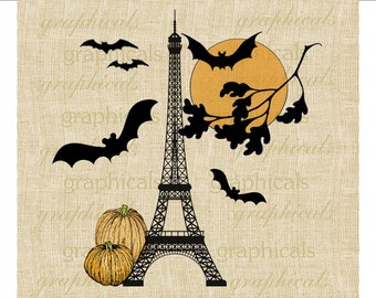 Paris Halloween Eiffel Tower Pumpkins Bats Digital download image for Iron on fabric transfer burlap decoupage pillows totes No. 1728