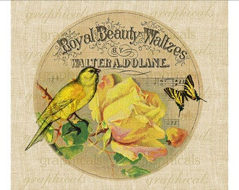 Vintage label Yellow rose Canary bird Digital download graphic image for iron on fabric transfer burlap decoupage pillows tote bags No. 675