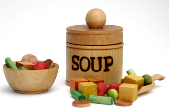 Soup set with pot, bowl and ingredients!   Play kitchen wooden food.