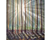 ORIGINAL PAINTING 24x48 Sun Tree No Frame Needed  Art By Thomas John