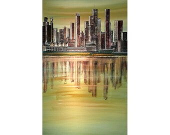 VANCOUVER BC Original Painting Cityscape Vertical 48x24 Skyline Wall Art  By Thomas John