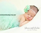 Sweet Mint Tutu Newborn Tutu Custom Made With Matching Vintage Style Flower Headband Stunning Newborn Photo Prop