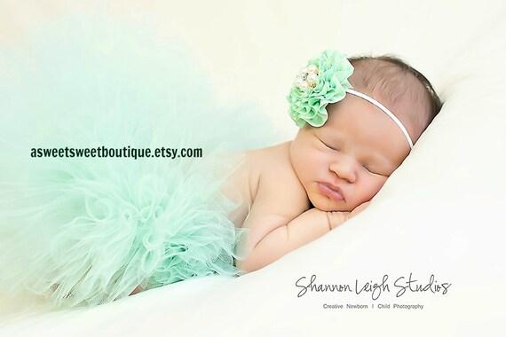 Sweet Mint Tutu Newborn Tutu Custom Made With Matching Vintage Style Flower Headband Stunning Newborn Photo Prop