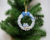 Ornament, Ceramic ornament,  holly wreath with bluebirds ornament, Christmas ornament