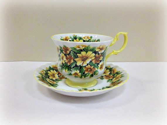 Marguerite Royal Albert Cup and Saucer Yellow Flowers