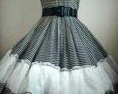 Vintage Black White Striped Dress Size S/M