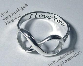 Infinity Ring, Infinity Rings, Wedding Rings, personalized rings, infinity jewelry, message rings, anniversary rings, Best Friends Rings,