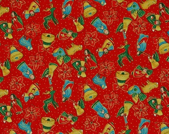 Christmas Fabric Angels  Beth Ann Bruske for David Textiles Inc. 100% Cotton 1 Yard.